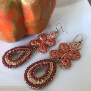 Stella & Dot Coral Capri chandelier earrings